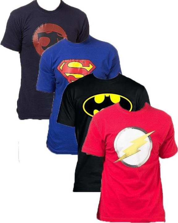 Pack of 4 - Multicolour Cotton Super Heroes Collection T-Shirts For Men
