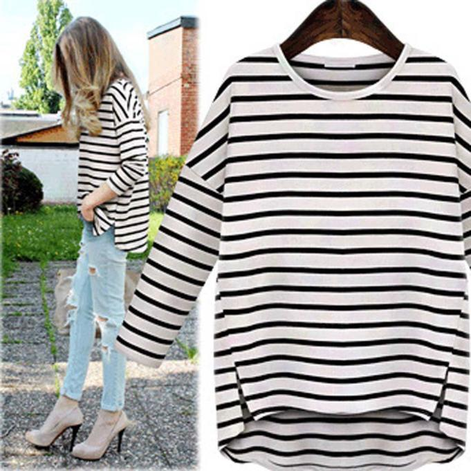 Fashion Women long sleeve round neck bottoming hedging striped sweater size L