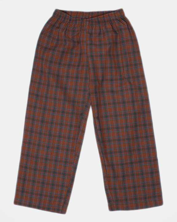 Rust Checkered Polyester Cotton Pajama - Gp 018