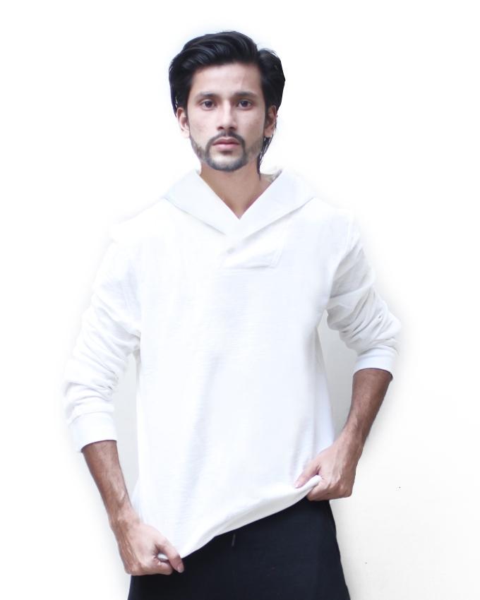 White Cotton Sweat Shirt For Men