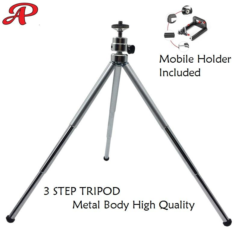 3 Sections Extendable Metal Portable Tripod 15.5-30CM with Phone Holder for Small Camera and
