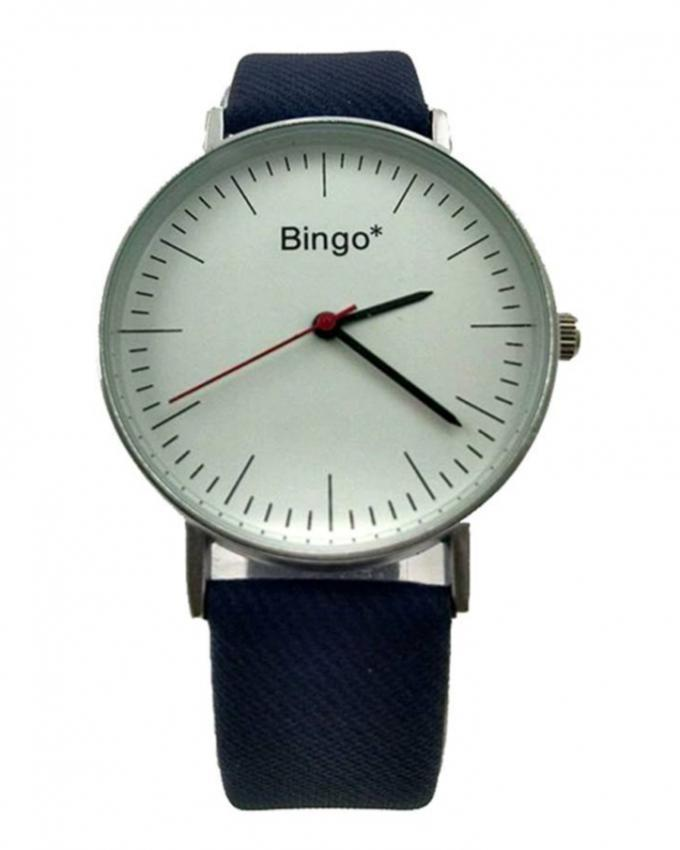 Blue Leather Strap Analog Watch For Men