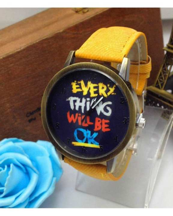 Yellow Leather Everything Will Be OK Watch For Unisex