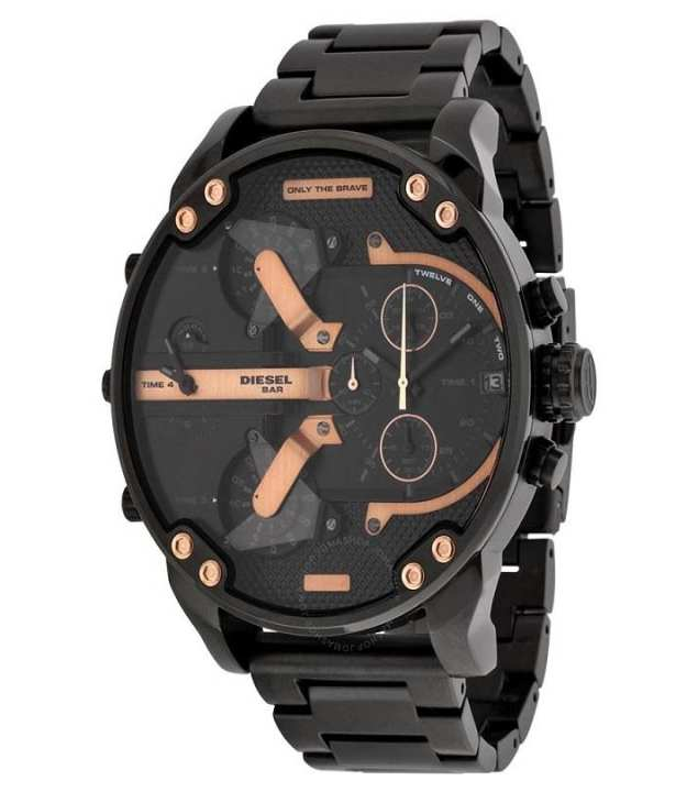 Diesel DZ7312 - The Daddies Chronograph Four Time Zone Dial Black Ion-plated Watch for Men
