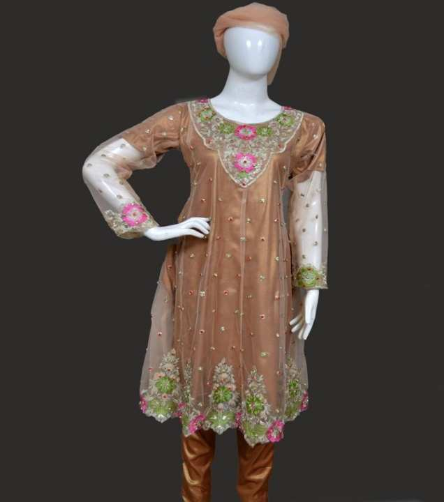 Skin Net Embroidered Frock With Multi Color Stones Stitched  3 Piece