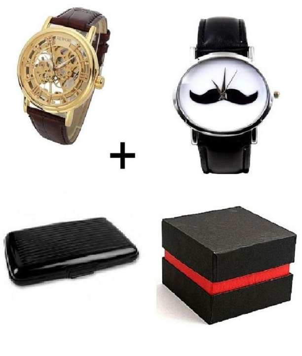 Pack Of 4 - 2 Brown Leather Watch Aluma Wallet With Gift Box