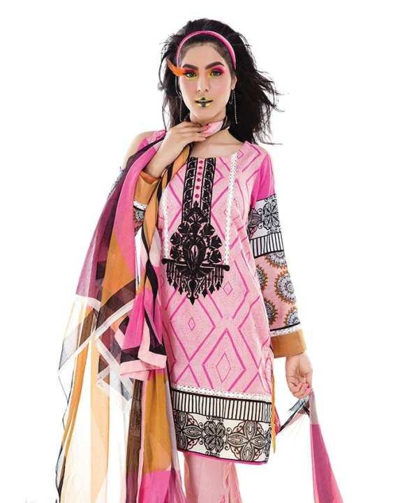 Hot Pink Lawn Sana & Samia Embroidered 3pc Unstitched Suit for Women