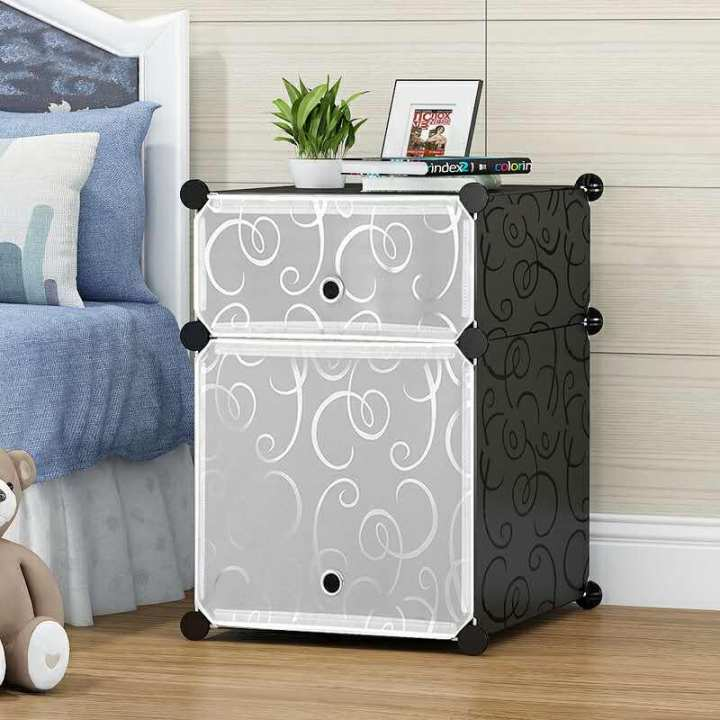 Side Table Plastic Wardrobe - Black & White