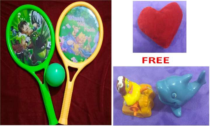 Free Fish Toy with Ben 10 and Winnie the Pooh Rackets with small Red Heart Cushion for kids