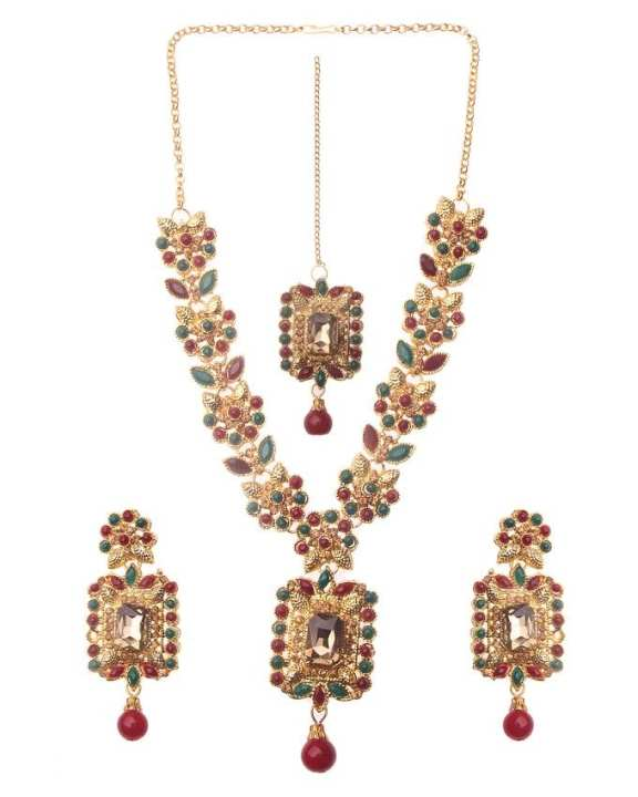 Lead Bridal Set with Matha Pati and Earrings - Golden, Red & Green