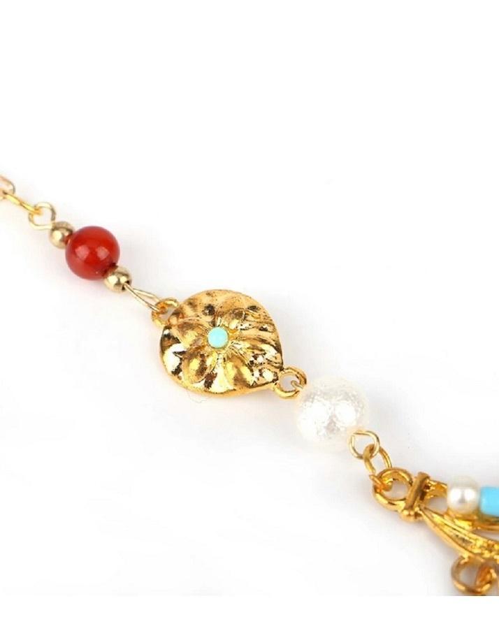 Golden Alloy Crystal Beads Pendant for Women