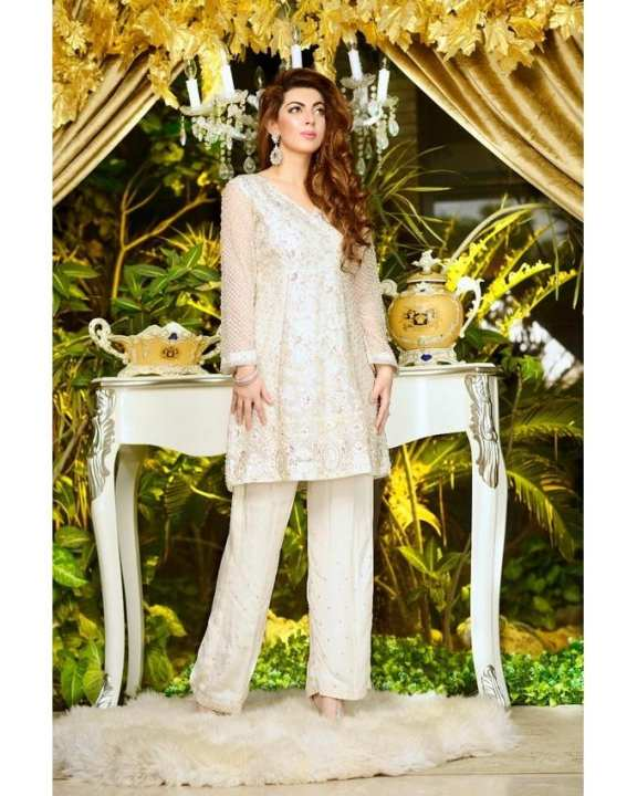 Off-White Pearl Hand Made Shirt With Pure Silk Trouser for Women