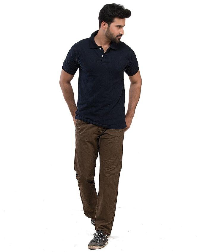 Black Polyester Cotton Polo T-Shirt For Men By Alif Bay Pay