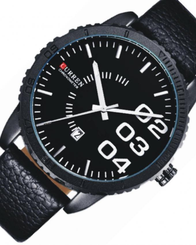 Black Leather Analog Wrist Watch For Men - 8125