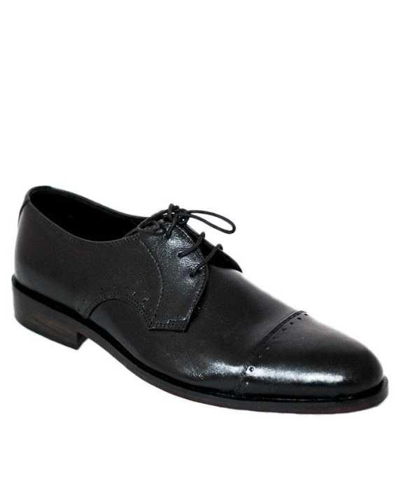 Black Leather Captoe Derby Shoes For Men