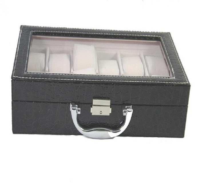 Generic Boxes-12 Slot Leather Watch Box - Black
