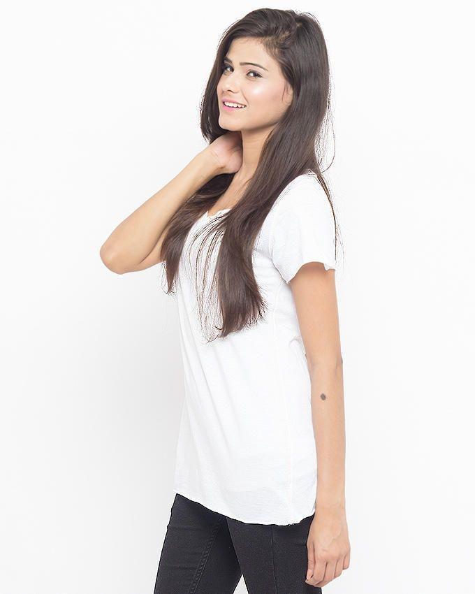 White - Cotton - T - Shirt For Women - W K T92 A/ S P13