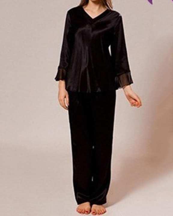 Solid Silk V-Neck Pajama Set With Chiffon Trims - Vpj001-Bk