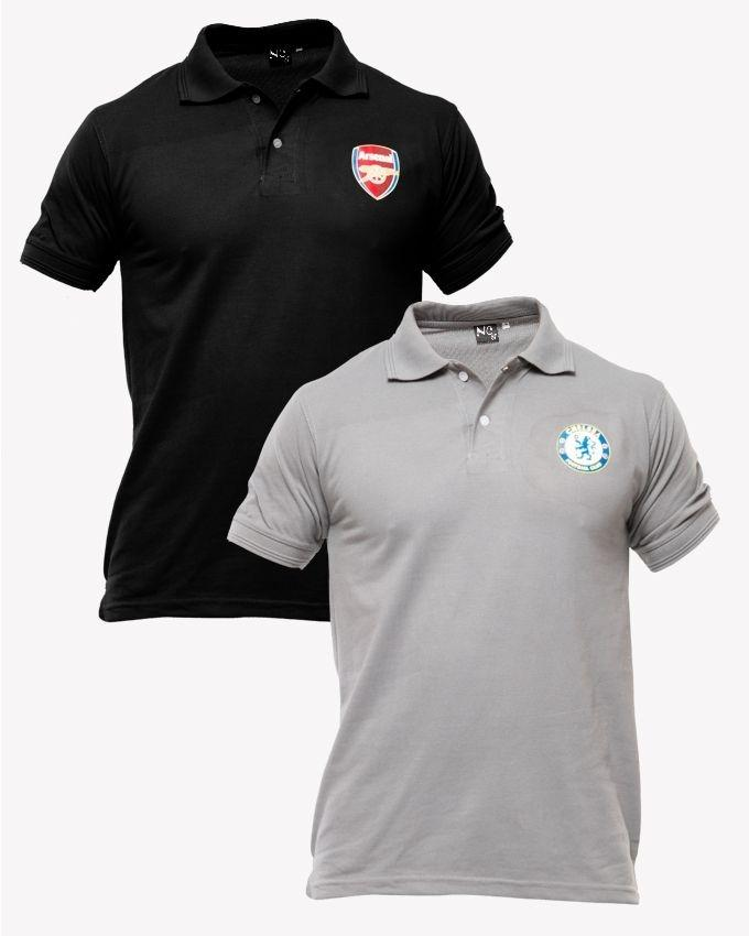 04dad30b0 Regal Outfit Footbal Black And Gray Pc Cotton Pack Of 2 Polo T Shirt With  Front