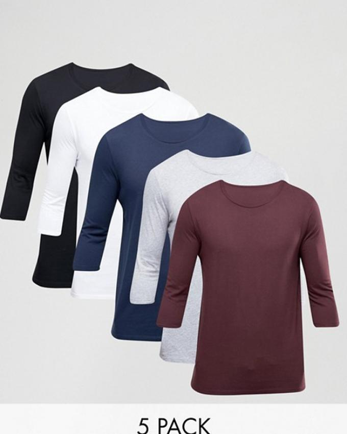 Pack Of 5 - Round neck full sleeves T Shirt For Women - Multicolor be0a5e1a8