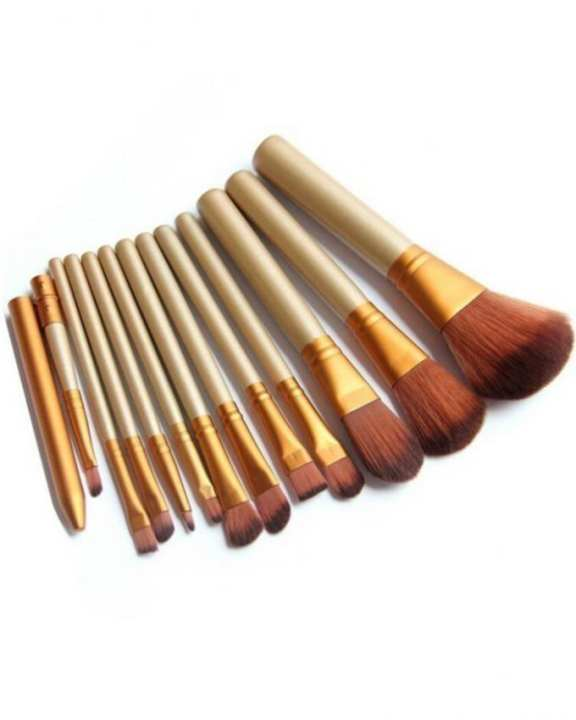 Pack Of 12 Cosmetic Brushes - Golden
