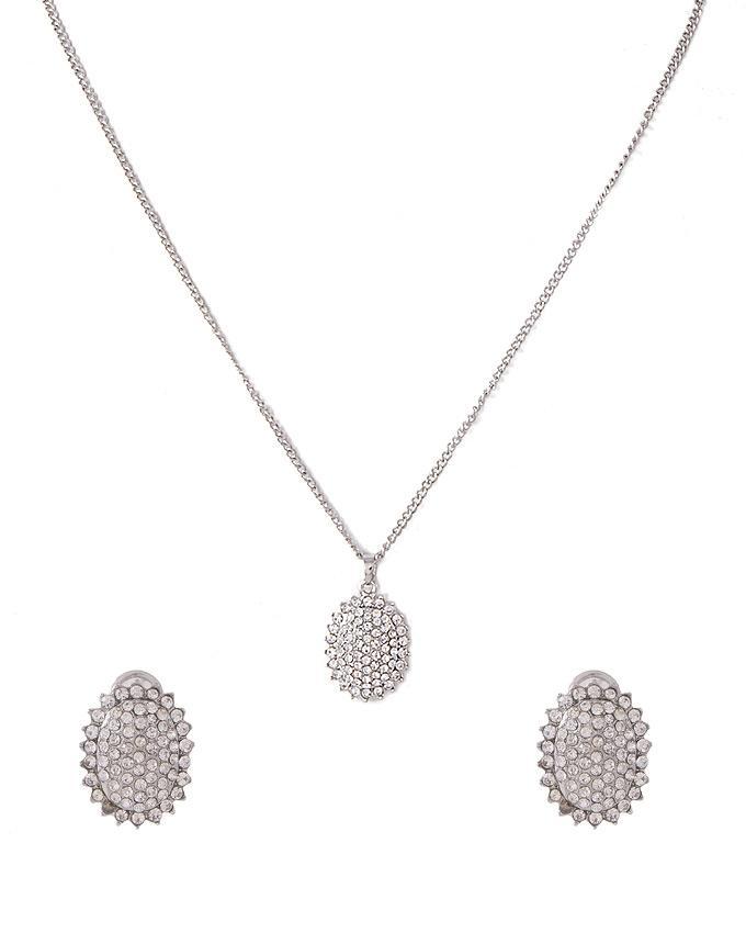 Silver Rhodium Plated Zirconic Pendant Set for Women - J-108