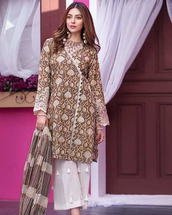 Brown 2Pcs Printed(D/S) with Laces-Unstitched