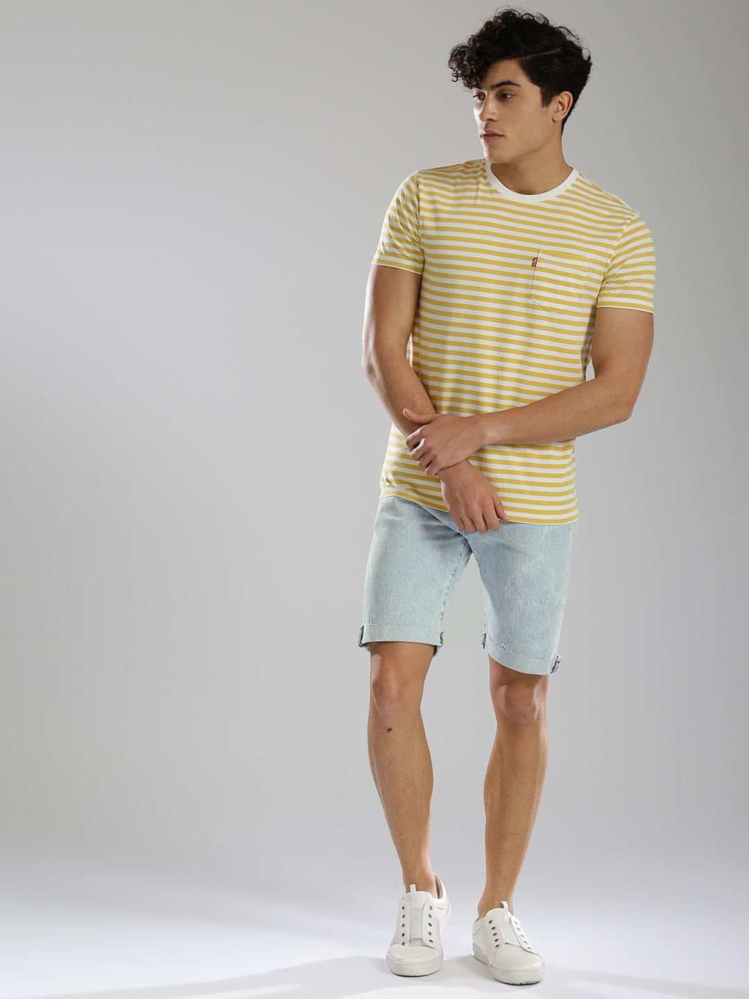Ice Blue Denim Shorts For Men