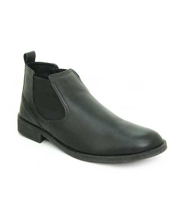 Black Leather Tpr Close Casual Shoes For Men