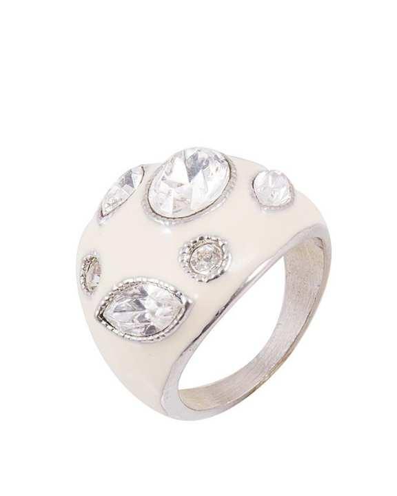 White Enameled Ring