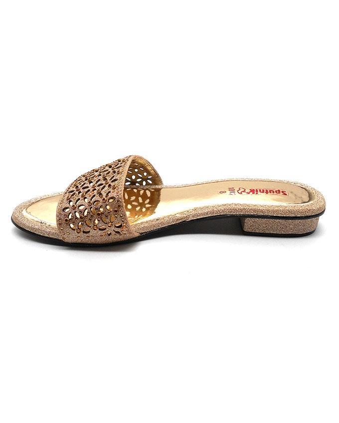 Golden Chamki Slipper With Half-Inch Heel For Women 2205/011