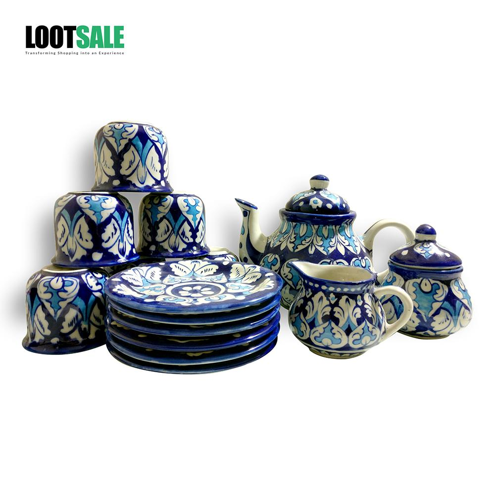 Rose Blue Tea Set Handcrafted & Hand Painted - 15 Pieces