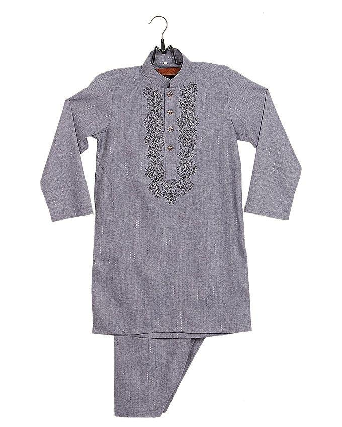 Grey Cotton Embroidered Shalwar Kurta Suit For Boys
