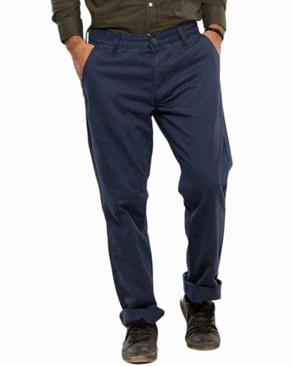 Dark Blue Cotton Slim Chinos for Men