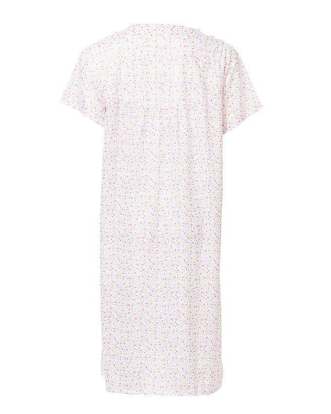 Pink Cotton Floral Nightwear For Women
