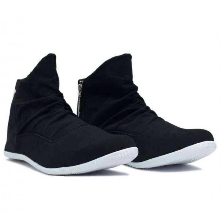 Zipper Black Sneakers For Men