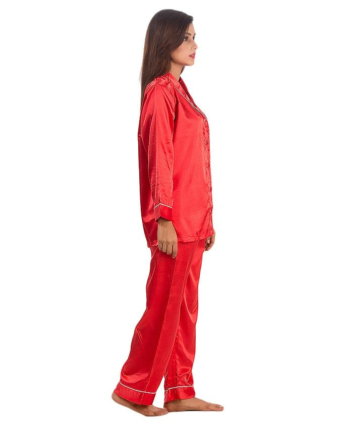 Red Solid Satin Silk Pajama Set With Contrast Piping - Pj15 Rd