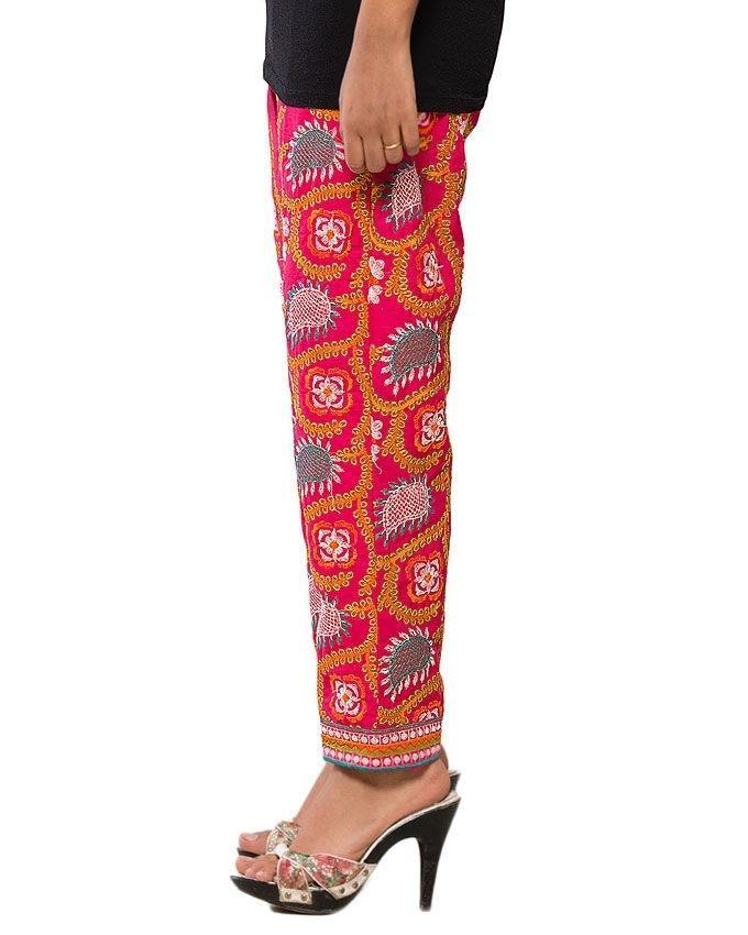 Pink Boski Phulkari Trouser for Women