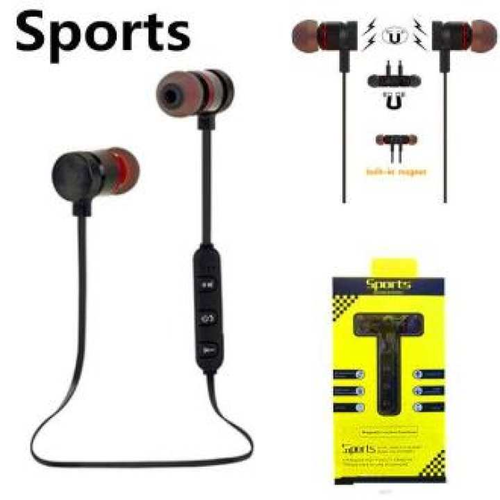 Magnetic Design Sports Sound Stereo Penetrating Bass Bluetooth Connectivity Earphones / Headphones / Hands free - Black Magnetic suction function Transmit range = 15m Wireless Earbuds Bass penetrating Bl