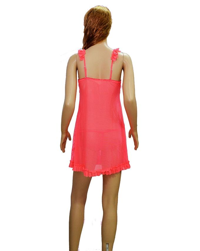 Pink Lace Net Short Nighty - 8768SP