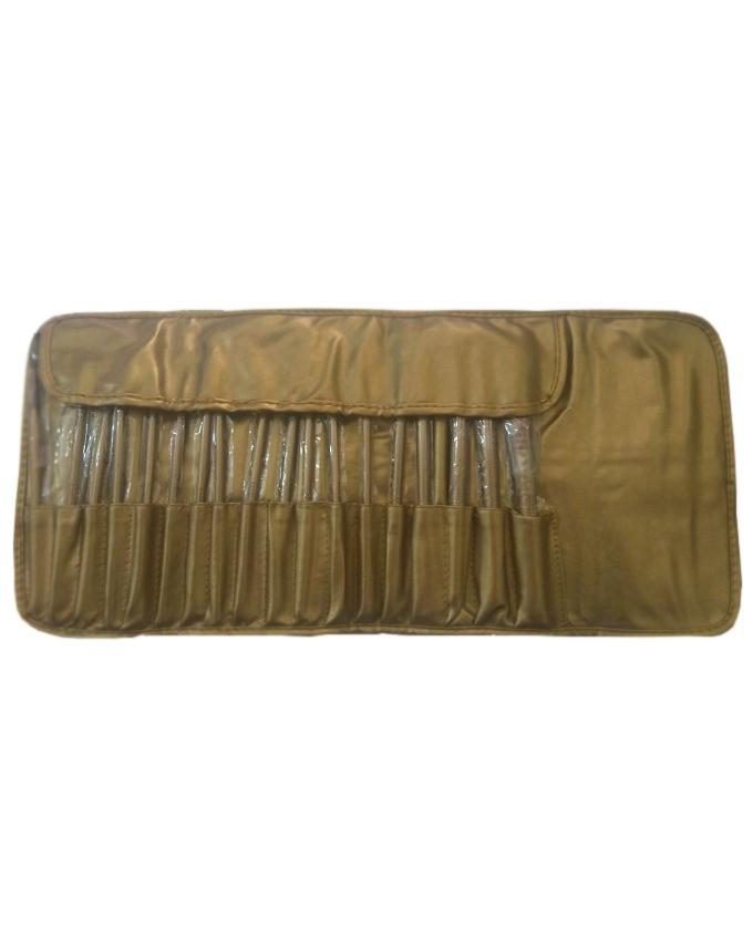 Makeup Brushes Kit with Bag - 18 Pieces - Brown & Black