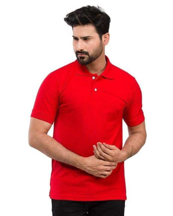 Pack of 2 - Red & White Cotton Polo Shirts for Men