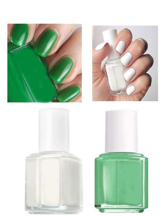 Nail Polish - Green  & White