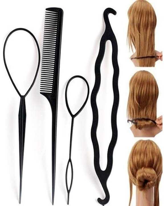 4 Pcs Set Styling Clip Bun Maker + Hair Twist Braid Ponytail Tool