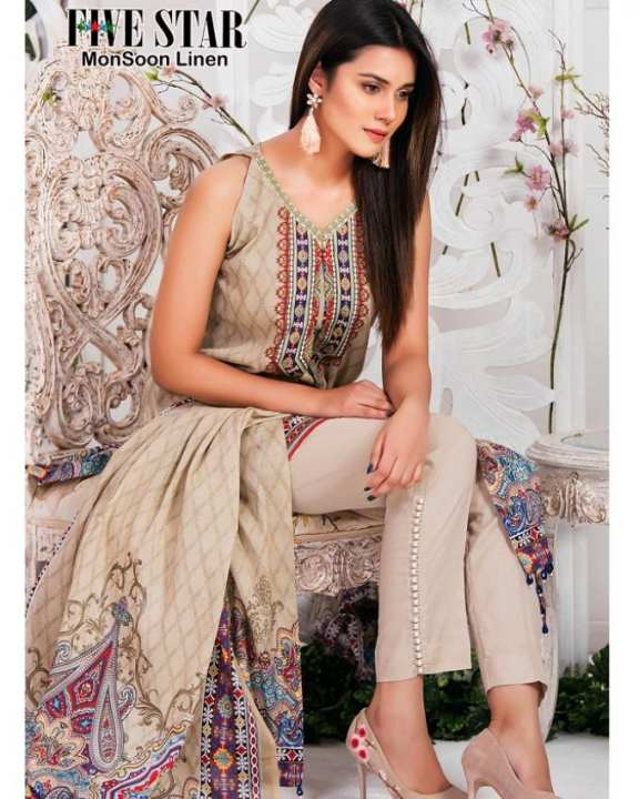 Five Star Monsson Linen Suit with Linen Dupatta-4pc Premium Quality DN # 211-A