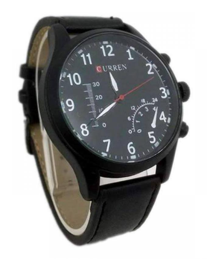 Curren Black Leather Straps Watch for Men