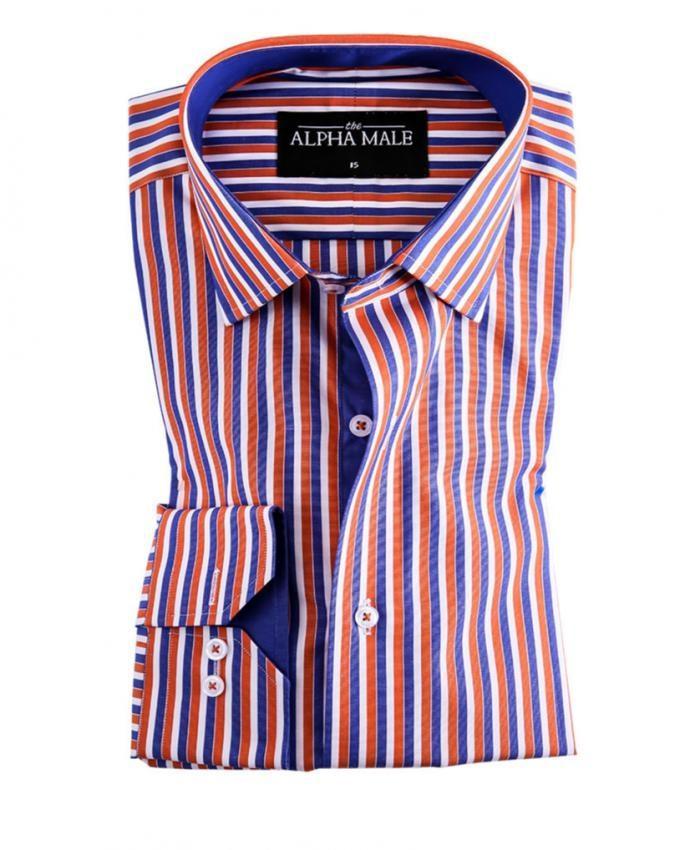Orange & Blue Pure Egyptian Cotton Striped Shirt for Men