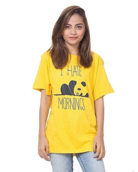 Yellow Cotton Half Sleeves Round Neck I Hate Mornings Printed T-Shirt For Women