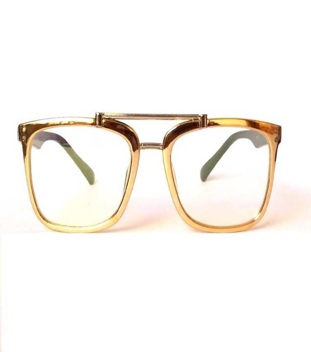 5f60050ffd84 Rangeen Golden Frame Clear Lens Fashion Glasses for Unisex-Clear