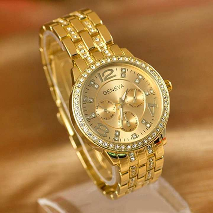 Luxury Gold Classic Round Crystal Ladies Watch